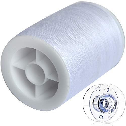 COLORED BIRD 400m General Purpose Thread,Polyester Sewing Thread with Plastic Sewing Machine Bobbin-White