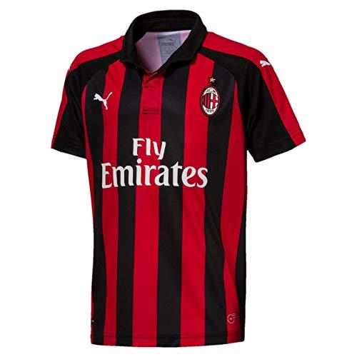 PUMA Jungen Trikot AC Milan Home Shirt Replica SS Kids with Sponsor Logo, Tango Red-Puma Black, 176, 754421