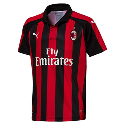 PUMA AC Milan Home Shirt Replica SS Kids with Sponsor Logo Jersey, Niños, Tango Red Black, 176