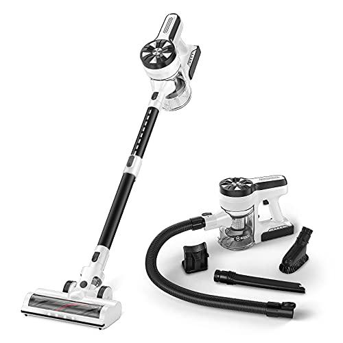 MOOSOO Cordless Vacuum Cleaner, Ultra-Powerful 26Kpa Suction Stick Vacuum with 3Hrs Fast Charging Quiet Lightweight 5 in 1 Handheld Vacuum for Carpet Hardwood Floor Rug Pet Hair M24s (White)