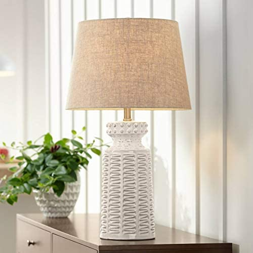 Helene Coastal Country Cottage Table Lamp Ceramic Rustic Cream White Glaze Linen Tapered Drum product image