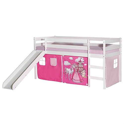 IDIMEX Rutschbett Benny Hochbett Kinderbett Spielbett Holzbett mit Rutsche, Vorhang mit Motiv Prinzessin rosa, Kiefer massiv weiß lackiert, 90 x 200 cm