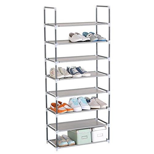 WOLTU® SR0009 Schuhregal Schuhablage Schuhständer Steckregal, XXL 8 Schichte Stoffregal Schuhschrank für 24 Paare Schuhe, Grau (60x29x140 cm)
