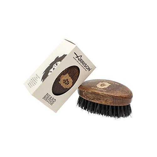 ☆ARRISON® BEARD☆ Spazzola Barba Uomo 100% Made In Italy - Manico in Legno di Faggio e Setole in Cinghiale Rinforzato Nylon - Realizzata Interamente in Italia da Maestri Artigiani