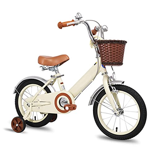 DHMKL 12/14/16/18 Inch Kids Bike Children'S Bicycles High-Carbon Steel Frame Bicycle The Handlebars And Seat Can Be Retractable Suitable For Children From 2 To 13 Years Old Beige/Pink