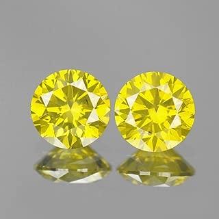 0.60ct 4.1mm Rare Natural Diamond Round Pair Fancy Yellow Loose Diamonds Free Shipping