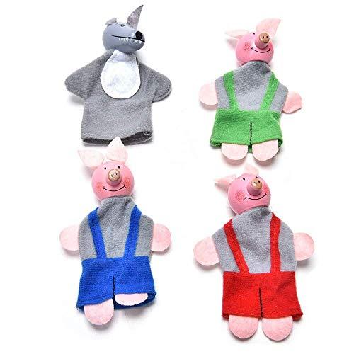 Fulinmen Marionetas de Mano Set cerditos Títeres de Dedo de la Mano Niños Educativo Juguete for el Muchacho de la Muchacha 4pcs Felpa Títeres
