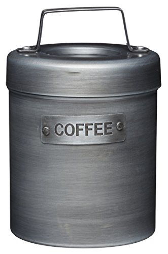 KitchenCraft Industrial Kitchen Vintage-Style Metal Coffee Canister, 1 L (1.75 Pts), Silver