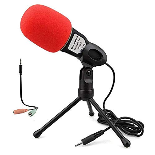 PC Microphone With Stand for PC and Smartphone,3.5MM Plug and Play...