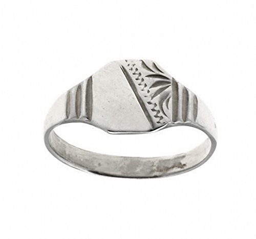 Sterling Silver Child's Half Engraved Signet Ring (Size G to K) Made to order in the Birmingham Jewellery Quarter (J)