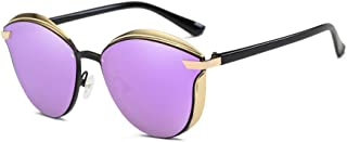Fashion Round Frame Retro Ladies Colorful Glasses UV400 Protection Gold Frame New Metal Polarized Sunglasses Retro (Color : Purple)