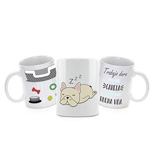 Taza PERSONALIZADA con Nombre y con Diseño DOG · Tazas de Ceramica a Todo Color (360º alrededor de la Taza) de 350 ml · Taza para Amantes de los Perros · Resistente Lavavajillas y Microondas