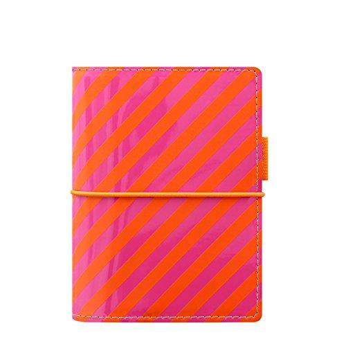 Filofax 22576 Terminplaner, Pocket Domino Patent, orange/rosa Stripes