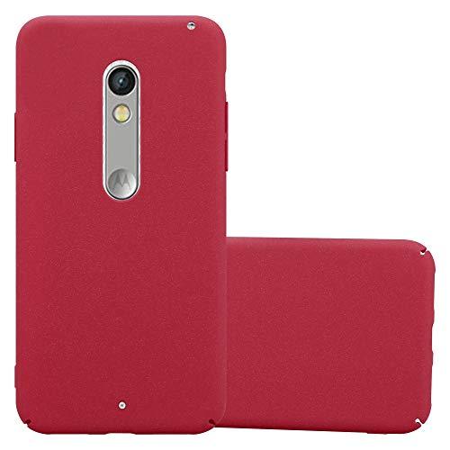 Cadorabo Hülle für Motorola Moto X Play - Hülle in Frosty ROT – Hardcase Handyhülle im matten Frosty Design - Schutzhülle Bumper Back Case Cover