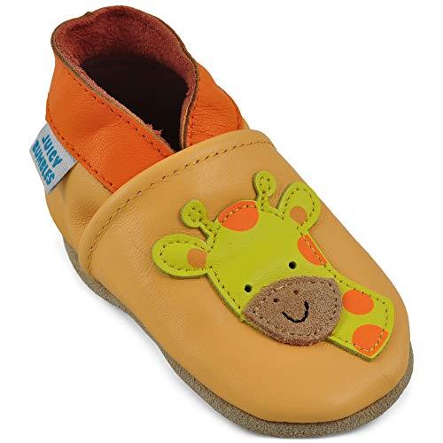 Juicy Bumbles - Weicher Leder Lauflernschuhe Krabbelschuhe Babyhausschuhe mit Wildledersohlen. Junge Mädchen Kleinkind- Gr. 12-18 Monate (Größe 22/23)- Giraffe