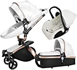 Cochecito de cuero para bebés, diseño de cáscara de huevo, carro de bebé de amortiguación, cochecito de colchón de bebé de alto paisaje, cochecito plegable con dosel ajustable, cesta de almacenamiento