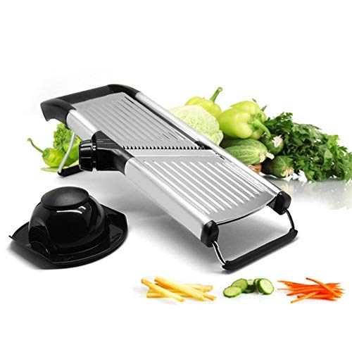 [Upgraded] Mandoline Slicer with Cut-Resistant Gloves and Blade Guard - Adjustable Mandolin Vegetable Slicer and French Fry Cutter, Food Slicer, Vegetable Julienne - Premium Stainless Steel
