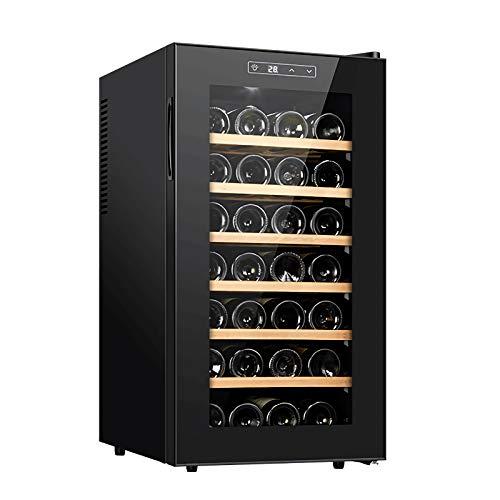 LLZH Vinoteca, Refrigerador Termoeléctrico del Vino, Bar Nevera de Vino Tinto/Blanco, Estantes de Madera de Haya, Pantalla Digital, Funcionamiento Silencioso,28 Bottles