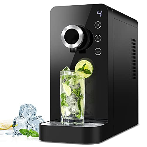 Commercial Sparkling Water Maker- Soda Maker Fizzy Drink Machine Carbonator for Home, Countertop Ice Water Cooler Dispenser and Room Temperature Water Without CO2 Cylinder Black