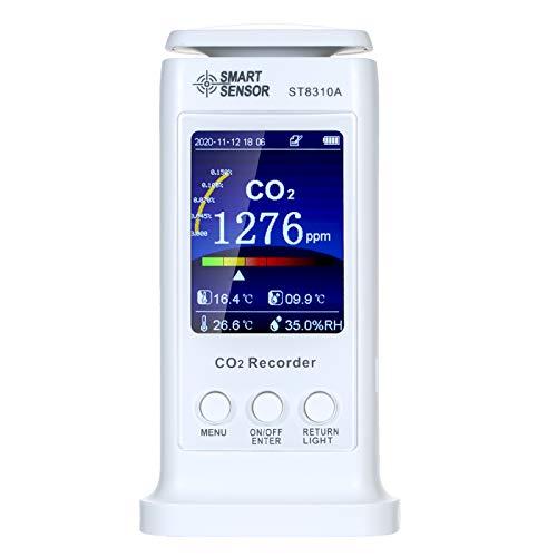 CO2-Messgerät KKmoon 0-20000ppm CO2 Monitor Kohlendioxid Detektor Luftqualitätsdetektor CO2 Meter Temperatur Luftfeuchtigkeit Monitor 80000 Gruppen Datenlogger Bunte LCD Screen USB wiederaufladbare