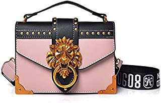 Adebie - Fashion Metal Lion Head Mini Small Square Pack Shoulder Bag Crossbody Package Clutch Women Designer Wallet Handbags Bolsos Mujer Pink []