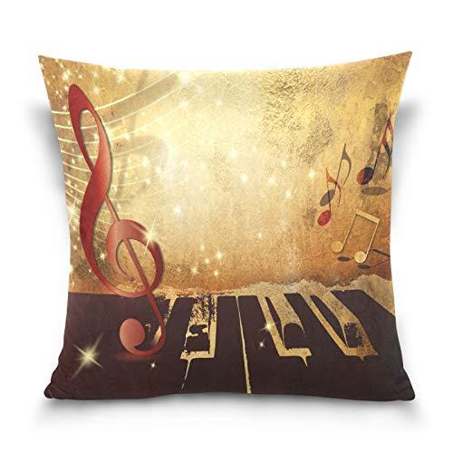 Ahomy Fundas de almohada decorativas para notas musicales, teclado, funda de cojín cuadrada para decoración del hogar, sofá, coche, dormitorio, 50 x 50 cm