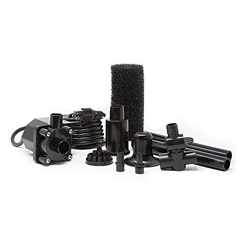 Beckett Corporation 680 GPH Submersible Pond Pump Kit with Prefilter and Nozzles - Water Pump for Indoor/Outdoor Ponds, Fountains, Fish Tanks, Aquariums, and Waterfalls - 7.8' Max Fountain Height, Black, 7.8' Max Fountain Height - (FR600)