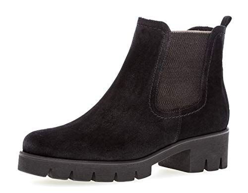 Gabor Damen Chelsea Boots 93.710,Frauen Stiefel,Halbstiefel,Stiefelette,Bootie,Schlupfstiefel,hoch,Blockabsatz 3cm,F Weite (Normal),Pazifik,UK 5