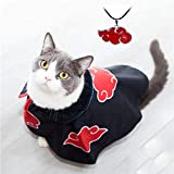 Akatsuki Dog Cat Cloak Costume Robe Clothes Anime Halloween Pet Puppy Cosplay Cute Party Cape Dressing Up with Necklace (Black, L)