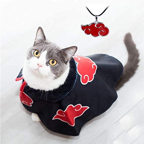 Akatsuki Dog Cat Cloak Costume Robe Clothes Anime Halloween Pet Puppy Cosplay Cute Party Cape...