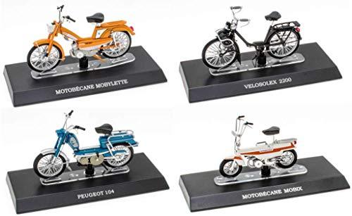OPO 10 - Lote de 4 ciclomotores míticos 1/18: Peugeot 104 + Solex + Motobécane + Mobix (M11 + M17 + M20 + M43)