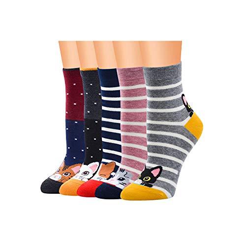 Flow.month 5Paar Weihnachtssocken,Unisex Socken Damen Herren Lustige Socken Witzig Socken Niedlich Tiere Karikatur Socken Baumwolle Socken(style7)
