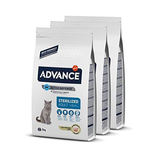 Advance Sterilized Adult - Cibo per Gatti Sterilizzati Adulti con Tacchino - Pack 3 x 3Kg - Total 9kg