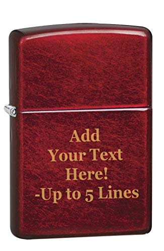 Candy Apple Red Zippo Outdoor Indoor Windproof Lighter Custom Personalized Engraved Message Permanent Lifetime Engraving on Backside