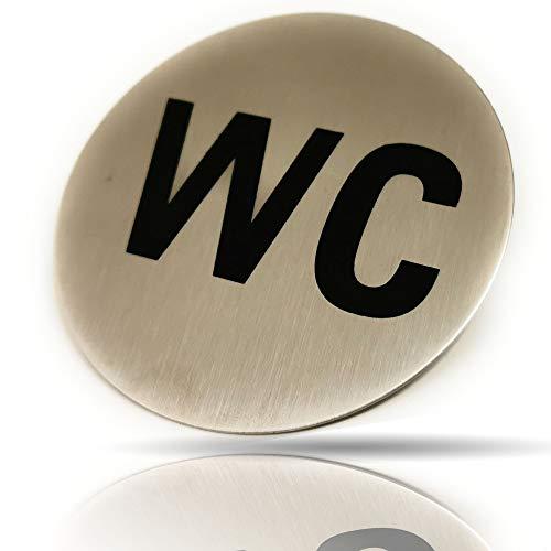 Kerafactum WC Schild Toilettenhinweis Hinweisschild Türschild - zu Den Toiletten Rund aus Edelstahl Matt glänzend - rundes Schild Selbstklebend Toilette Hinweis