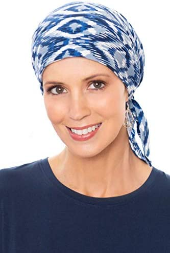 Cardani Instant Tie Pre Tied Head Scarf in Luxury Bamboo Blue Chevron product image