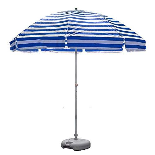 Sombrilla de Playa portátil a Rayas de 8.2 'UV 50+, sombrilla de Patio al Aire Libre, sombrilla de Mesa de Mercado con 8 Varillas Resistentes y manivela (Azul y Blanco) (Color: Rayas Azules