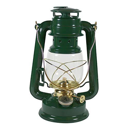 Heinze Petroleumlampe grün, mit Messingelementen, Sturmlaterne, Höhe 24 cm, Einfülldeckel mit Kindersicherung, Leuchtdauer ca. 15 Std.