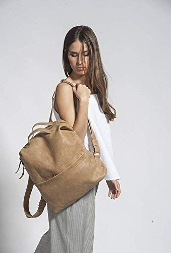 Light Camel Brown Natural Leather 15 Inch Laptop Tablet Backpack Weekender Carry All Satchel Rucksack