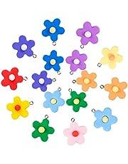 حلية متدلية من الراتنج على شكل زهرة ملونة، بينبو 20 قطعة 10 ألوان زهرة متدلية الخرز المعلقات سلسلة المفاتيح قلادة زهري حلوى سحر صناعة المجوهرات اليدوية