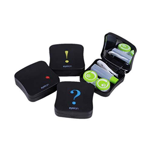 Estojo organizador de lentes de contato ExCEART com espelho, 4 peças, preto, caixa de lentes de contato, organizador para uso diário e viagens ao ar livre