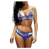 Sylar Vintage Hojas Impresión Bikini Set Dos Piezas Push Up con Relleno Trajes de Baño Sexy Brasileños Tanga Conjuntos Mujer XXL