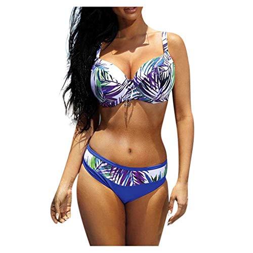 PPangUDing Bikini Set Damen Sexy Neckholder High Waist Push Up Geteilter Schlankheits Hawaii-Print Verstellbarem Abnehmbar Zweiteiliger Bademode Badeanzügen Swimwear Swimsuits Tankini Beachwear