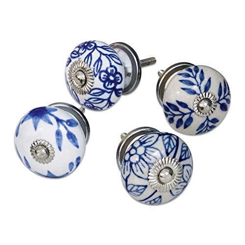 Loberon commodegrepen 4-delige set porselein, porselein/ijzer, T/Ø ca. 5/4 cm, blauw/wit