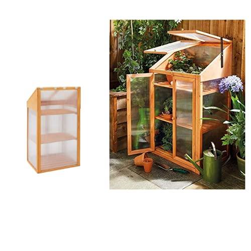 HMWD Double Door Wooden Greenhouse With Transparent Poly-carbonate Glazing Outdoor/Patio/Balcony/Backyard Garden Planter- H120 x W69 x D51 cm