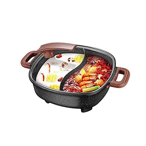FYRMMD Olla Caliente eléctrica Antiadherente de Piedra Maifan, Dos cocinas de inducción de Alfombra, con Cubierta de Vidrio y artículos para el hogar Ajustables
