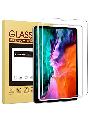 SPARIN Screen Protector for iPad Pro 12.9 (2020 and 2018 Model), Tempered Glass Film for 3rd and 4th Generation iPad Pro 12.9 inch with Installation Tool, Face ID Compatible