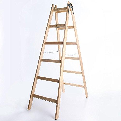 Holzleiter PREMIUM 2x6 Stufen Zweiseitige Klappleiter Leiter Haushaltsleiter 150kg