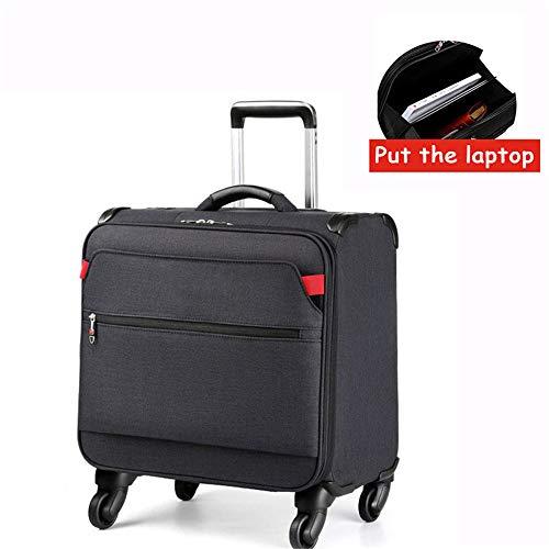 FGKING Rolling Laptop Bag, Large Wheeled Rucksack, Rolling Briefcase for Women and Men. Fits 15.6 inch Laptop 18 inch Rolling Bag Laptop Computer Case with Wheels,Black