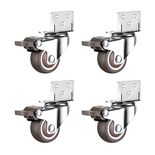 ALEOHALTER Swivel Caster Wheels Universal Swivel Caster Swivel Rubber Pretty Wheel For Trolley Mute L Type 360 Rotatable 4pcs